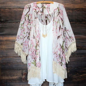 Tops - Floral Summer Kimono Beach Cardigan Blouse Coverup